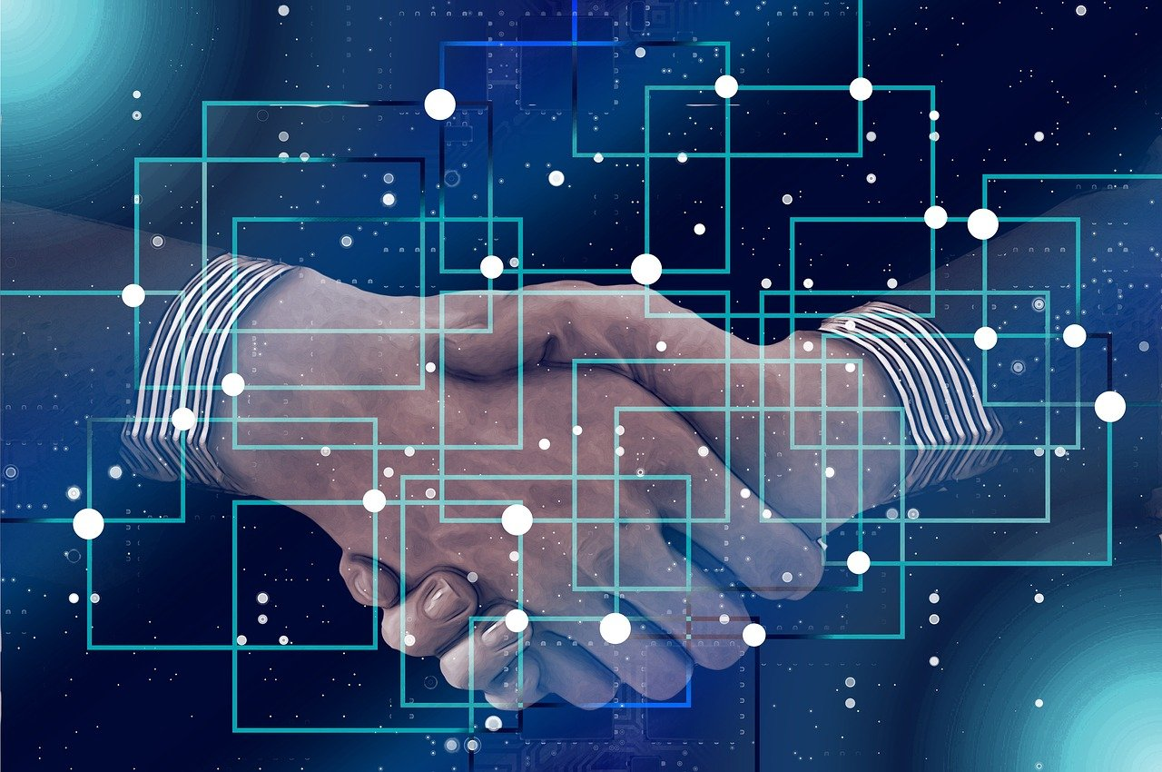 block chain, personal, shaking hands